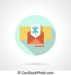 Christmas envelope flat color vector icon