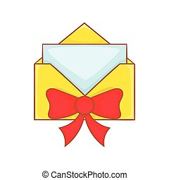 Christmas envelope with bow icon, cartoon style