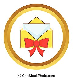 Christmas envelope with bow vector icon