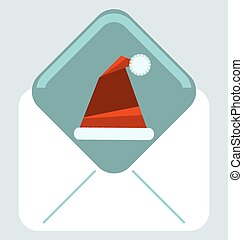 Christmas envelope with Santa Claus red hat