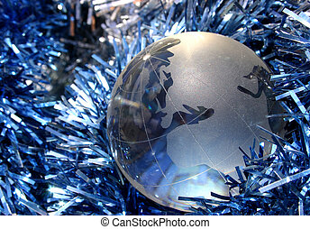 Christmas Europe - Gloe with tinsel showing Europe