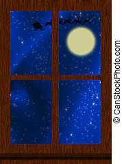 Christmas Eve - A window with santa in flight over a full ...