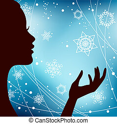 Christmas Eve background. Profile Silhouette of Pretty Young Woman with Snowflake in her Hand. Image May Be Use as Postcard or Placard