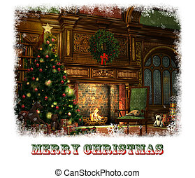 Christmas Eve Card, 3d CG - 3d CG graphics of a living room...