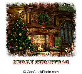 Christmas Eve Card, 3d CG - 3d CG graphics of a living room...
