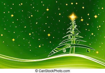 christmas eve, christmas theme - christmas tree with lights...