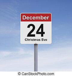 Conceptual road sign indicating December 24