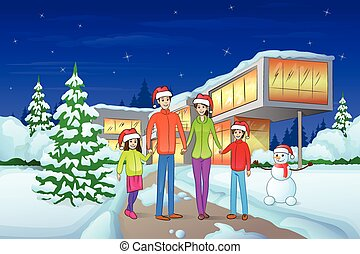 christmas eve holiday happy family in front of modern house