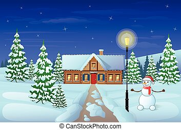 christmas eve holiday house winter snow gift card -...