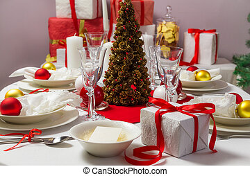 Christmas Eve table ready for supper