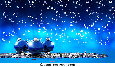 Christmas Eve - three christmas balls in a starry background