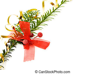 Christmas border with pine tree branch and festive red ribbons decorations. Isolated on white background.