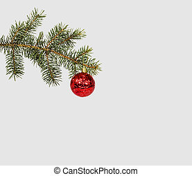 Christmas evergreen spruce tree with snow and red glass ball