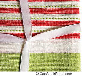 Christmas fabric and ribbon.