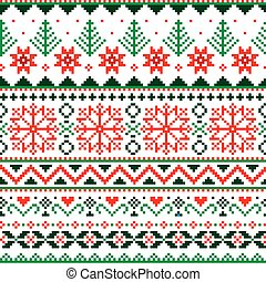 Christmas Fair Isle style traditional knitwear vector seamless pattern with snowflakes, trees and hearts in red and green