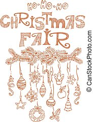 Christmas fair, market announcement poster