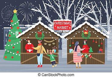 Christmas Fair or Market, People Prepare for Xmas