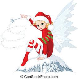 Christmas fairy - Beautiful Christmas fairy sitting on ice...