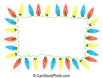 Christmas fairy lights - Bright fairy lights border or frame...