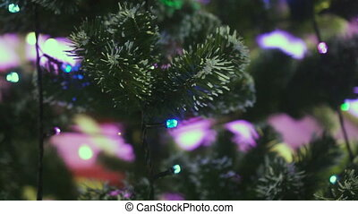 Christmas fairy-lights on garland - Closeup of christmas...