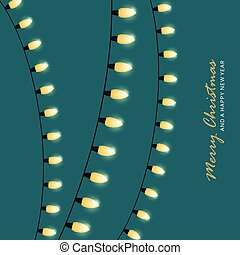 christmas fairy lights on green background holiday greeting card