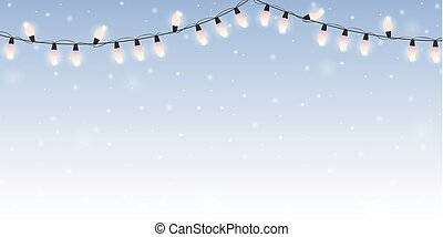 christmas fairy lights on snowy bright winter background
