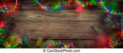 Christmas Fairy Lights on Wood. Christmas Background with String