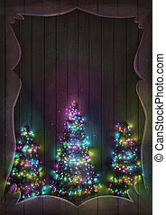 Christmas Fairy Lights on Wood. Christmas tree illuminated.