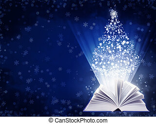 Christmas fairy-tale. Horizontal background with magic book