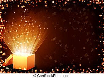 Christmas fairy-tale. Horizontal background with magic box