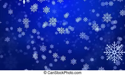 Christmas falling snow Blue isolated on Clean loop background.