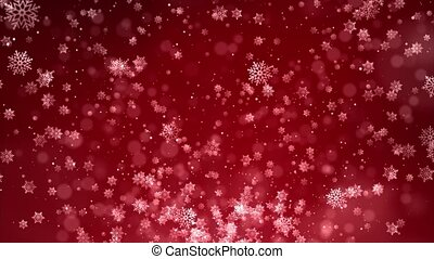 Christmas falling snow Red isolated on Clean loop background.