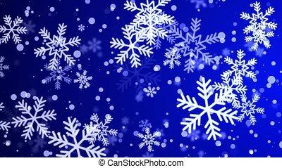 Christmas falling snow Snowflake on loop Blue 4k background.
