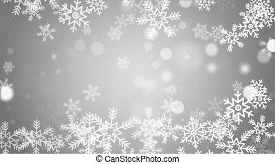 Christmas falling snow Snowflake on loop White 4k background.