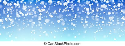 Christmas falling snow vector isolated on blue background. Snowflake transparent decoration effect.