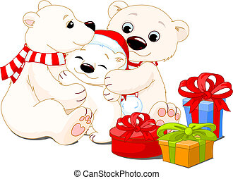 Christmas family - A Mommy and Daddy bear with their baby...