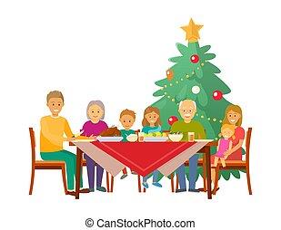 Christmas Family Having Celebration Dinner at Home