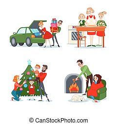 Christmas Family Scenes. Couple with Gift Boxes. Mother Bakes Christmas Cookies with Daughters. Parents with Children Decorating Fir. Boy and Girl near Fireplace. Vector illustration