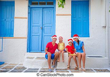 Christmas Family vacation on greek street