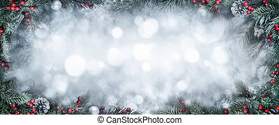 Christmas fantasy background framed with fir branches