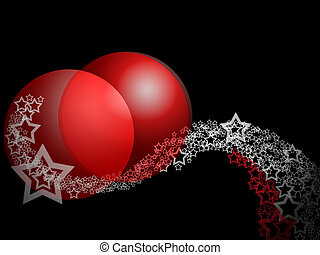 Christmas Fantasy Elegant Abstract Erotic Ornament With Two Big Red Ruby Bauble Balls And Lacy Curl Stars Over Deep Black Background