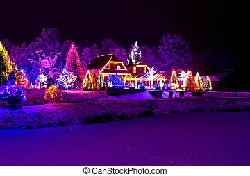 Christmas fantasy - park, forest & lodge in xmas lights - ...