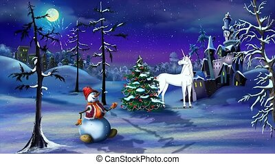 Christmas Fantasy with Magic Unicorn