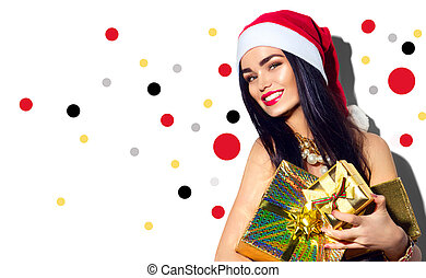 Christmas fashion model girl. Sexy Santa holding gifts