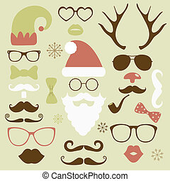 Christmas fashion silhouette set hipster style