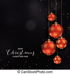 christmas festival design with hanging red golden balls