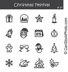 Christmas festival icon set 1 .
