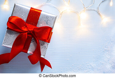 Christmas festive background with gift box