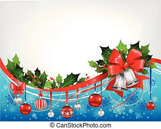 Christmas festive background with silver bells