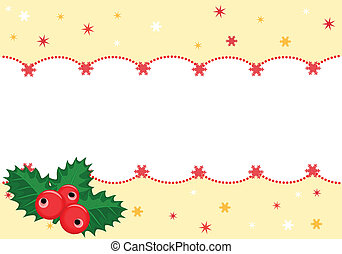 Christmas festive banner with holly